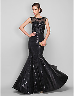 Formal Evening Military Ball Dress - See Through Beautiful Back Trumpet / Mermaid Scoop Sweep / Brush Train Tulle Sequined withAppliques