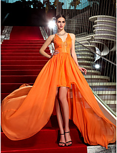 Formal Evening/Military Ball Dress - Orange Plus Sizes Sheath/Column Halter Asymmetrical Chiffon