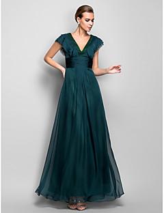 저녁 정장파티/밀리터리 볼 드레스 - 제이드 A라인 바닥 길이 V넥 쉬폰 플러스 사이즈