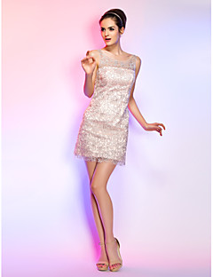 Cocktail Party / Homecoming / Graduation / Holiday Dress-Blushing Pink Plus Size / Petite Sheath/Column Scoop Short/Mini Tulle