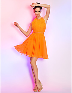 Homecoming Cocktail Party/Homecoming/Holiday Dress - Orange Plus Sizes A-line Jewel Short/Mini Chiffon