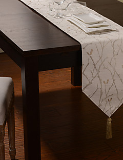 Country Style Jacquard Floral Linen Table Runners