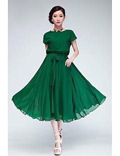 dámská zelená / černá šifon šaty, krátký rukáv s pásem