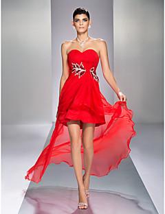 TS Couture Coquetel Reunião de Classe Feriado Vestido - Assimétrico Sensual Frente Única Linha A Coração Assimétrico Chiffon comDrapeado
