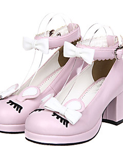 Bowknot And Eyelash Design Classic Lolita PU Leather 6.5cm High-heeled Shoes