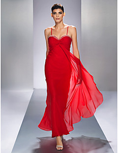 Formal Evening/Prom/Military Ball Dress - Ruby Plus Sizes Sheath/Column Spaghetti Straps Ankle-length Chiffon