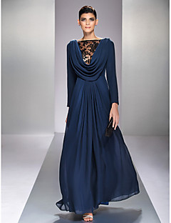 Formal Evening/Military Ball Dress - Dark Navy Plus Sizes A-line Bateau Floor-length Chiffon