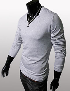 Мужской Однотонный Футболка,На каждый день / Для занятий спортомДлинный рукав-Черный / Коричневый / Белый / Серый