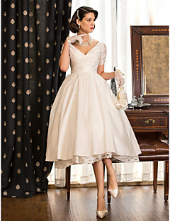 A-line / Princess Petite / Plus Sizes Wedding Dress - Ivory Tea-length V-neck Taffeta