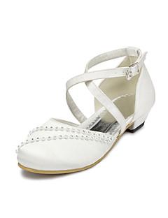 Mädchen-Flache Schuhe-Hochzeit / Party & Festivität-Satin-Flacher Absatz-Komfort-Rosa / Lila / Elfenbein / Weiß / Grau