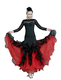 볼륨 댄스 드레스 여성용 훈련 명주그물 러플 긴 소매 내츄럴