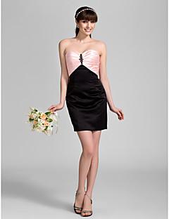 Knee-length Satin Bridesmaid Dress - Candy Pink Plus Sizes / Petite Sheath/Column Sweetheart