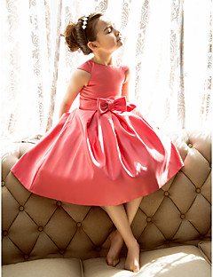 Lanting Bride A-line / Princess Tea-length Flower Girl Dress - Satin Short Sleeve Jewel with Bow(s)