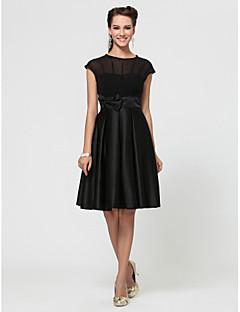 Lanting Bride® Knee-length Chiffon / Satin Little Black Dress Bridesmaid Dress - A-line / Princess Jewel Plus Size / Petite withBow(s) /