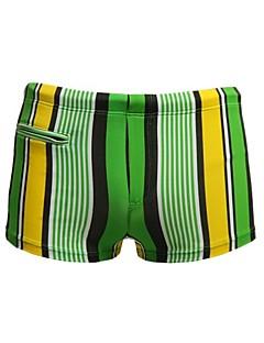 גברים של הפסים ניילון ספנדקס מרופד מכנסיים רוכסן הכיס מתאגרפים לשחות