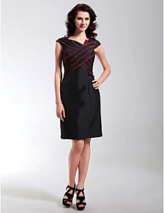 TS Couture Cocktail Party Wedding Party Holiday Dress - Little Black Dress Sheath / Column V-neck Knee-length Taffeta withRuffles Criss