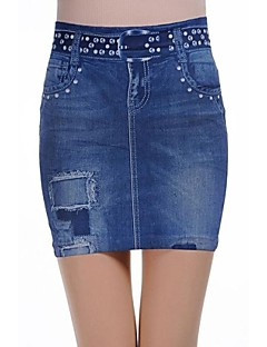 Kvinnors Fashionabla Blå Ripped Denim Mini Skirt
