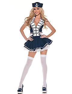 Two-Faced Meisje van de Marine White & Blue Polyester Sailor Uniform