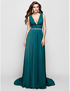 Formal Evening/Military Ball Dress - Jade Plus Sizes A-line/Princess V-neck Sweep/Brush Train Chiffon