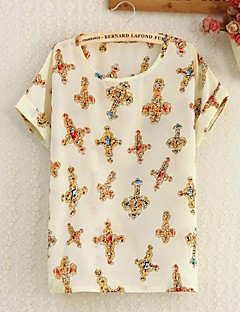 Mulheres Collar Yellow Point Padrão Floral Imprimir Shirt