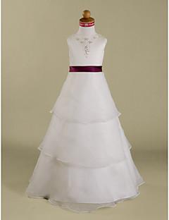 Lanting nevěsta ® A-line / princezna podlahy délka květin šaty - organza / satén bez rukávů šperk withappliques