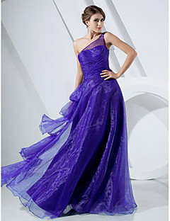 Formal Evening/Prom/Military Ball Dress - Regency Plus Sizes A-line/Princess One Shoulder Floor-length Organza