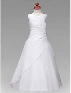 Lanting Bride A-line / Princess Floor-length Flower Girl Dress - Satin / Tulle Sleeveless Jewel with Ruffles / Ruching