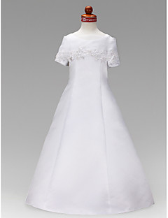 A-line/Princess Floor-length Flower Girl Dress - Satin Short Sleeve