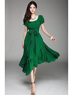 활 벨트 여성의 퍼프 슬리브 층 쉬폰 스윙 미디 드레스