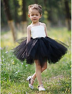 Ball Gown Short/Mini Flower Girl Dress - Satin/Tulle Sleeveless