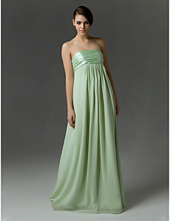 Floor-length Chiffon / Charmeuse Bridesmaid Dress-Apple / Hourglass / Inverted Triangle / Pear / Rectangle / Plus Size / Petite / Misses