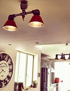 Vintage pipe design Spot Light, 2 lumières avec ampoule Led, fer à repasser peinture.