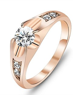 Women's Statement Rings Unique Design Love Costume Jewelry Rose Gold Cubic Zirconia Gold Plated Jewelry Jewelry For Wedding Party Gift