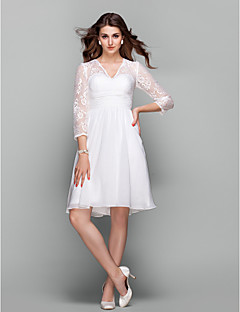 Homecoming Cocktail Party/Holiday/Prom Dress - Ivory Plus Sizes A-line V-neck Knee-length Chiffon/Lace