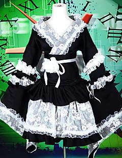 Roupa Ternos de Empregadas Doce Lolita Cosplay Vestidos Lolita Patchwork Color Block Manga Longa LolitaBlusa Vestido Bracelete de Braço