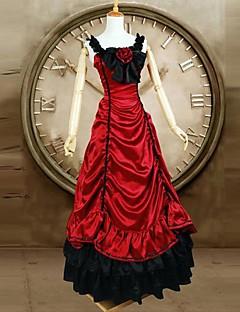 한 조각/드레스 고딕 로리타 클래식/전통적 롤리타 빅토리안 코스프레 로리타 드레스 레드 빈티지 민소매 긴 길이 드레스 용 사틴