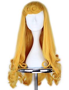 Sleeping Beauty Princess Aurora Long Curly Golden Anime Cosplay Wig