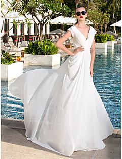 Lanting Bride® Funda / Columna Tallas pequeñas / Tallas Grandes Vestido de Boda - Clásico y Atemporal Larga Cuello en V Georgette con
