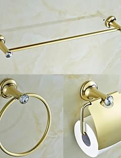 Hedendaagse Golden Crystal messing 3 delig badkamer accessoires Stel handdoekhouder en handdoekring en Tissue Holder