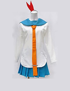 Inspired by Nisekoi Kirisaki Chitoge Anime Cosplay Costumes Cosplay Suits Patchwork White / Blue Long Sleeve Top / Skirt