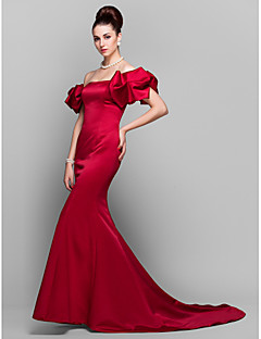 Formal Evening Dress - Burgundy Trumpet/Mermaid Off-the-shoulder Court Train Satin