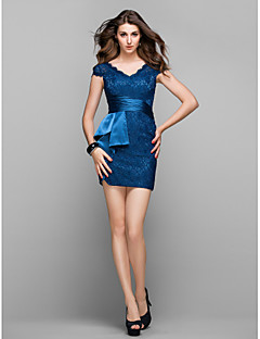TS Couture Cocktail Party Prom Holiday Dress - Elegant Short Sheath / Column V-neck Short / Mini Lace with Side Draping
