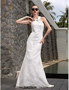 A-line Plus Sizes Wedding Dress - Ivory Sweep/Brush Train V-neck Satin/Lace/Stretch Satin