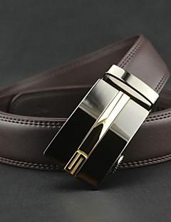 Mænds Fashion Brown ægte læder Automatisk bæltespænde