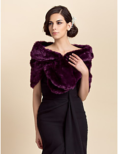 Fur Wraps Shrugs Faux Fur Purple Party/Evening / Casual