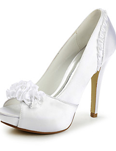 Women's Spring / Summer / Fall / Winter Heels / Peep Toe / Platform Satin Wedding Stiletto Heel Applique / Satin Flower / Ruffles Ivory