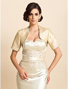 Wraps casamento Casacos / Jaquetas Meia Manga Tafetá Prateado Casamento / Festa / Casual Camiseta Contas / Lantejoula Aberto à Frente