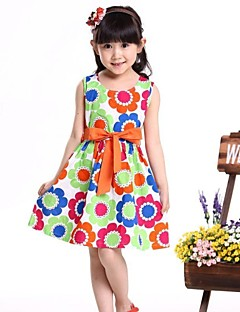 Girl's Floral Dress,Organic Cotton Summer Multi-color / Orange