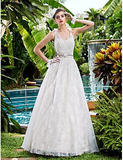 LAN TING BRIDE גזרת A שמלת חתונה תחרה פרחונית עד הריצפה מחשוף לב תחרה עם חרוזים בד בהצלבה פרח סרט