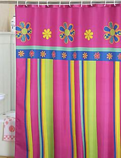 鮮やかなカラフルな花柄とストライプシャワーカーテン